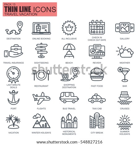 Thin line travel and tourism, for travel agencies icons set for website and mobile site apps. Pixel Perfect. Editable Stroke. Flat simple linear pictogram pack. Vector illustration.