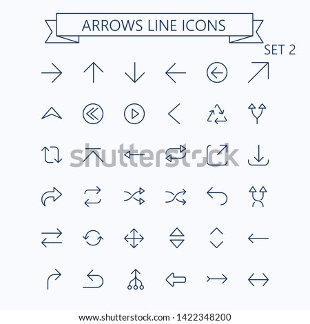 Thin line vector arrows icon set. Editable stroke. Optimized for 24px, scaled 8x. Pixel Perfect. Set 2.