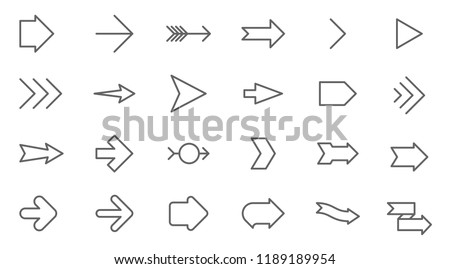 Thin line vector arrows icon set. Flat design media controls and pointers  collection  on white background. Lines only, easy to edit line weight