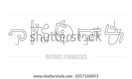 Thin line vector concept with rhythmic gymnastics equipment and elements. Modern design element for flyer template, advertisement or commercial add. Sport and fitness vector.