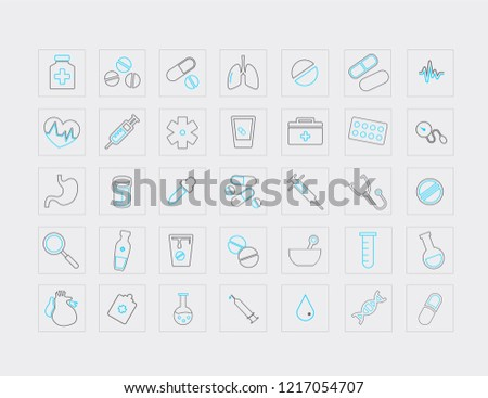 Thin line vector icon set-atom vector, pill bottle, first aid kit, doctor bag, ambulance star, DNA, scalpel, bottle, microscope, chromosomes, heart, lungs, syringe.