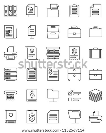 thin line vector icon set - case vector, clipboard, certificate, document, archive, exam, annual report, binder, receipt, newspaper, network folder, big data, estate, catalog, printer