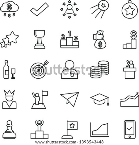 thin line vector icon set - check mark vector, coins, square academic hat, pedestal, growth graph, winner podium, gold cup, pawn, arrow, man with medal, star, flag, target, money bag hand, rain