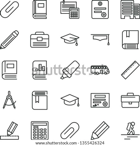 thin line vector icon set - clip vector, briefcase, graphite pencil, yardstick, book, e, portfolio, buildings, drawing, calculation, square academic hat, scribed compasses, text highlighter, patente