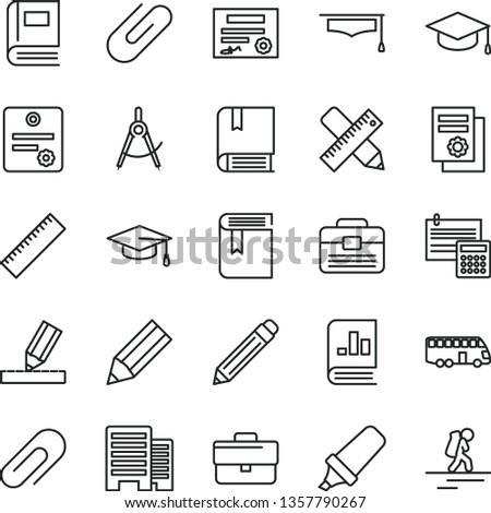 thin line vector icon set - clip vector, briefcase, graphite pencil, yardstick, book, e, portfolio, buildings, writing accessories, drawing, calculation, square academic hat, scribed compasses, bus