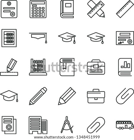 thin line vector icon set - clip vector, briefcase, graphite pencil, yardstick, book, new abacus, portfolio, buildings, writing accessories, drawing, square academic hat, scribed compasses, graduate