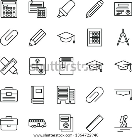 thin line vector icon set - clip vector, briefcase, graphite pencil, yardstick, book, new abacus, portfolio, buildings, writing accessories, calculation, square academic hat, scribed compasses, bus
