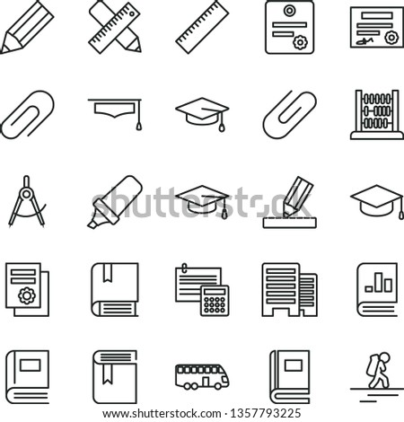thin line vector icon set - clip vector, yardstick, book, e, abacus, buildings, writing accessories, drawing, calculation, square academic hat, scribed compasses, pencil, text highlighter, graduate