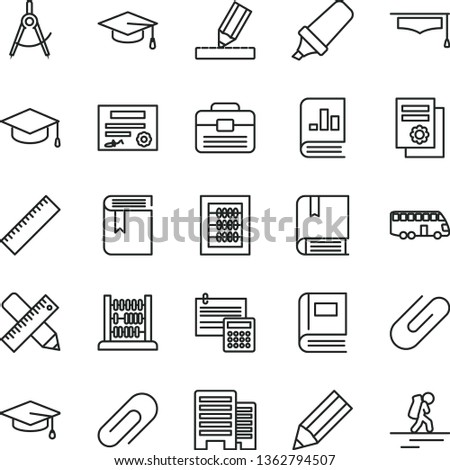 thin line vector icon set - clip vector, yardstick, book, new abacus, e, portfolio, buildings, writing accessories, drawing, calculation, square academic hat, scribed compasses, pencil, graduate