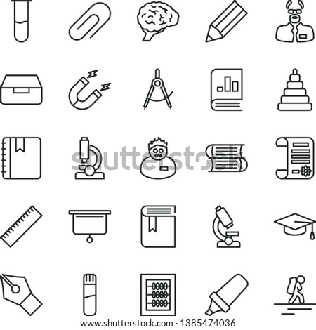 thin line vector icon set - clip vector, yardstick, book, new abacus, stacking toy, books, notebook, drawer, magnet, scribed compasses, pencil, text highlighter, on statistics, research article