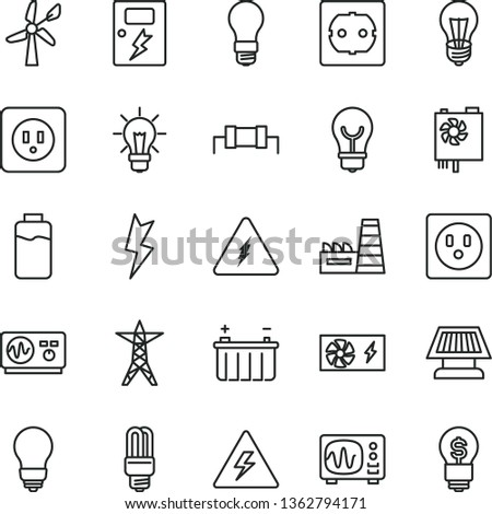 thin line vector icon set - danger of electricity vector, bulb, power socket type b, f, lightning, dangers, charge level, wind energy, battery, light, line, thermal plant, mercury, pc supply, idea