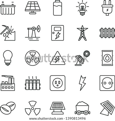 thin line vector icon set - danger of electricity vector, bulb, power socket type b, lightning, dangers, radiator, new, coffee beans, charge level, solar panel, big, working oil derrick, coal mining