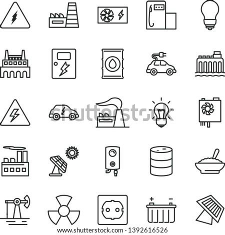 thin line vector icon set - danger of electricity vector, bulb, power socket type f, dangers, boiler, a bowl buckwheat porridge, big solar panel, working oil derrick, modern gas station, factory