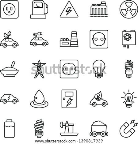 thin line vector icon set - danger of electricity vector, incandescent lamp, saving light bulb, power socket type b, f, dangers, a bowl buckwheat porridge, charge level, oil derrick, gas station