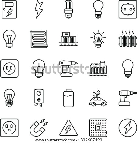thin line vector icon set - danger of electricity vector, matte light bulb, incandescent lamp, cordless drill, power socket type b, f, lightning, dangers, heating coil, boiler, charge level, mercury