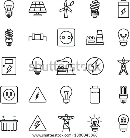 thin line vector icon set - danger of electricity vector, matte light bulb, saving, power socket type b, dangers, charge level, charging battery, solar panel, wind energy, factory, line, pole, idea