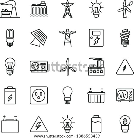 thin line vector icon set - danger of electricity vector, saving light bulb, dangers, charge level, charging battery, windmill, wind energy, factory, accumulator, hydroelectricity, power line, pole