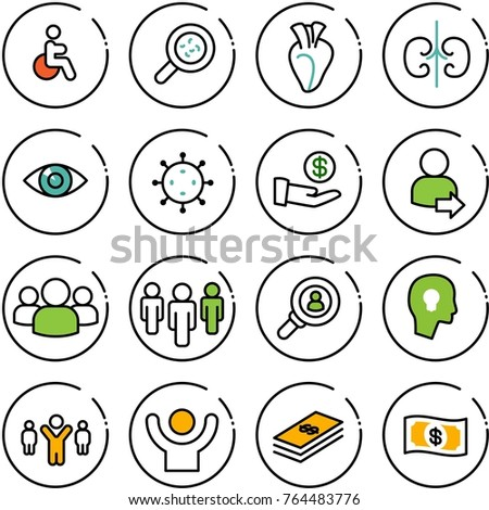 Thin line vector icon set - disabled vector, bacteria, heart, kidneys, eye, virus, investment, user login, group, head hunter, bulb, team leader, success, dollar, money