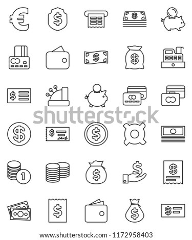 thin line vector icon set - dollar coin vector, credit card, wallet, cash, money bag, piggy bank, investment, stack, check, receipt, shield, any currency, euro sign, cashbox #1172958403