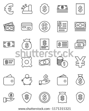 thin line vector icon set - dollar coin vector, wallet, cash, money bag, piggy bank, investment, stack, receipt, shield, any currency, euro sign, yen, credit card, cashbox, check #1171315321