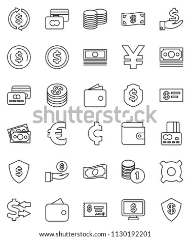 thin line vector icon set - exchange vector, dollar coin, credit card, wallet, cash, investment, stack, check, shield, monitor, any currency, euro sign, yen, cent, money