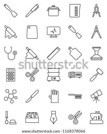 thin line vector icon set - fetlock vector, sponge, car, toilet brush, rubber glove, pan, measuring cup, spatula, rolling pin, meat hammer, cutting board, grater, double boiler, pen, ruler, scissors