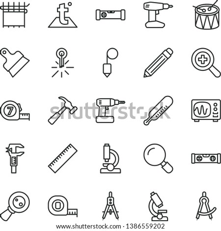 thin line vector icon set - graphite pencil vector, yardstick, zoom, mercury thermometer, drum, cordless drill, measuring tape, long meashuring, construction level, building, plummet, putty knife