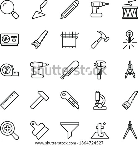 thin line vector icon set - graphite pencil vector, yardstick, zoom, mercury thermometer, drumroll, building trowel, cordless drill, hand saw, arm, long meashuring tape, putty knife, stationery