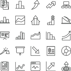thin line vector icon set - growth up vector, bar chart, line, graph, negative, positive histogram, cardiogram, recession, a crisis, statistical report, scheme, article on the dollar, ring diagram