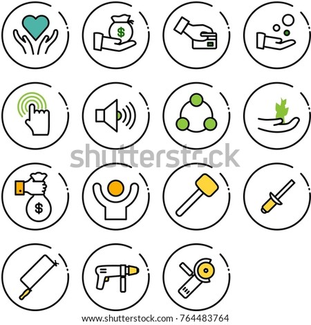 Thin line vector icon set - heart care vector, investment, card pay, cash, hand cursor, volume max, social, sproute, rich, success, rubber hammer, clinch, metal hacksaw, drill machine