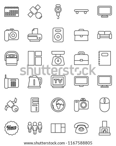 thin line vector icon set