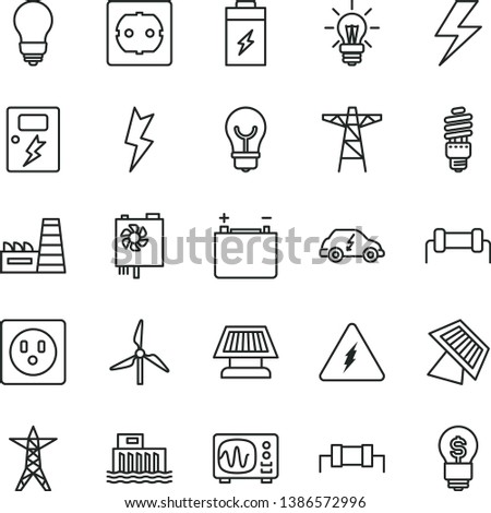 thin line vector icon set - lightning vector, bulb, power socket type f, dangers, charging battery, windmill, accumulator, hydroelectric station, line, pole, thermal plant, energy saving, light