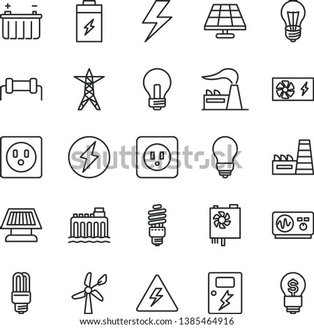 thin line vector icon set - lightning vector, danger of electricity, incandescent lamp, bulb, power socket type b, dangers, charging battery, solar panel, wind energy, factory, hydroelectricity, sun