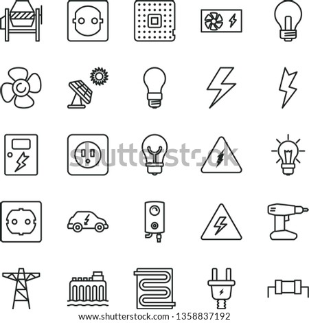 thin line vector icon set - lightning vector, danger of electricity, incandescent lamp, concrete mixer, drill, power socket type b, f, dangers, heating coil, boiler, bulb, fan screw, big solar panel