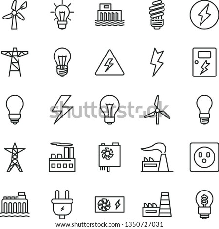 thin line vector icon set - lightning vector, danger of electricity, matte light bulb, saving, dangers, windmill, wind energy, factory, hydroelectric station, hydroelectricity, power line, pole