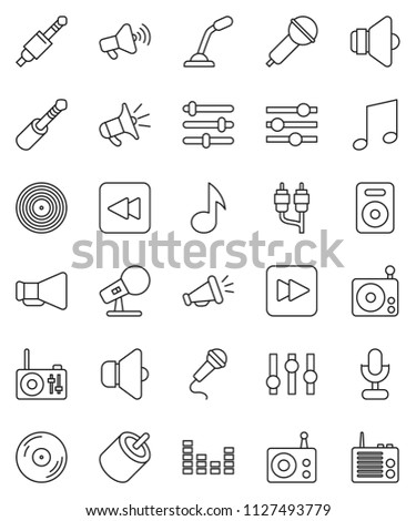 thin line vector icon set - music vector, disk, microphone, radio, speaker, loudspeaker, settings, equalizer, forward button, backward, rca, jack
