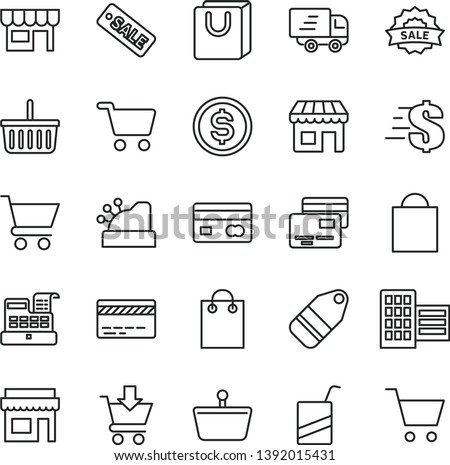 thin line vector icon set - paper bag vector, grocery basket, bank card, dollar, e, city block, cart, put in, with handles, cards, kiosk, label, shopping, reverse side of a, Express delivery, store