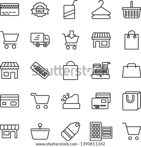 thin line vector icon set - paper bag vector, grocery basket, bank card, e, city block, cart, put in, with handles, cards, kiosk, hanger, label, stall, shopping, reverse side of a, hand, cashbox