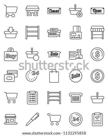 thin line vector icon set - pen vector, dollar coin, cart, credit card, office, shelving, sale, open, closed, 24 hour, shopping bag, market, store, mall, buy, receipt, basket, list
