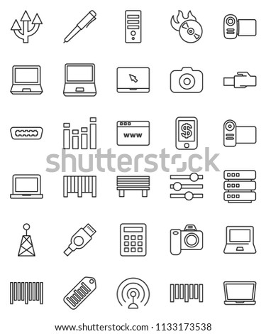 thin line vector icon set - pen vector, notebook pc, barcode, music hit, camera, antenna, equalizer, hdmi, big data, browser, lan connector, bench, route arrow, calculator, tap pay, video, computer