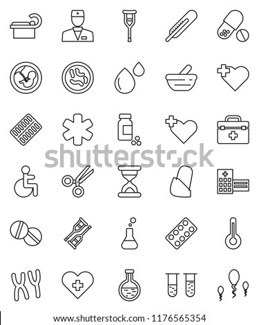 thin line vector icon set - pills vial vector, heart cross, doctor bag, ambulance star, disabled, thermometer, flask, pregnancy, crutches, scissors, sand clock, blister, mortar, microbs, chromosomes
