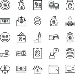 thin line vector icon set - purse vector, coins, column of, denomination the dollar, article on, financial item, catch a coin, money, dollars, cash, bag hand, rain, mortgage, pedestal, wallet, eyes