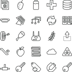 thin line vector icon set - renewal vector, plus, add label, toys over the cot, key, heating coil, big data, move up, mini hot dog, chicken thigh, red apple, tasty mulberry, charge level, router