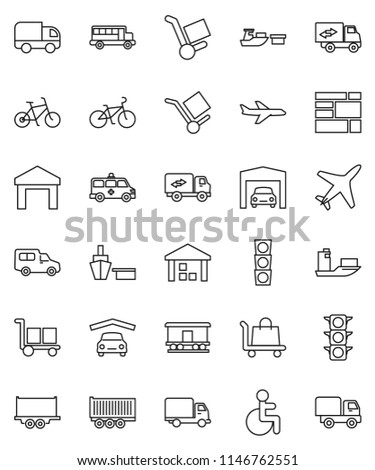 thin line vector icon set - school bus vector, bike, plane, traffic light, ship, truck trailer, delivery, car, port, consolidated cargo, warehouse, Railway carriage, disabled, amkbulance, garage