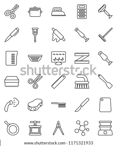 thin line vector icon set - scraper vector, fetlock, rake, sponge, steaming, pan, colander, measuring cup, cook press, spatula, rolling pin, cutting board, grater, blender, ruler, drawing compass