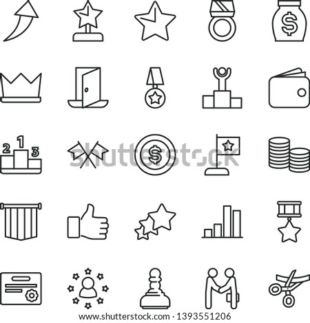 thin line vector icon set - star vector, pedestal, coins, bar chart, wallet, money, winner podium, finger up, pawn, reward, flag, medal, hero, certificate, gold ring, cross flags, pennant, arrow