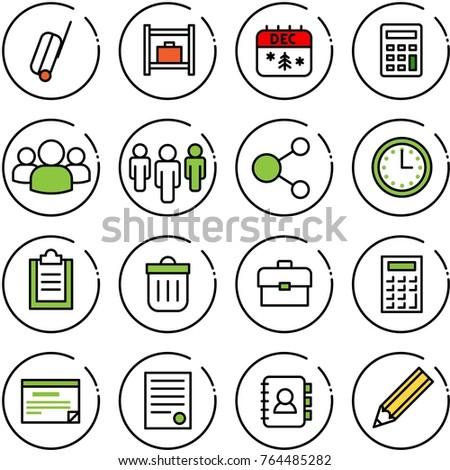 Thin line vector icon set - suitcase vector, baggage room, christmas calendar, calculator, group, share, time, clipboard, trash bin, portfolio, schedule, agreement, contact book, pencil