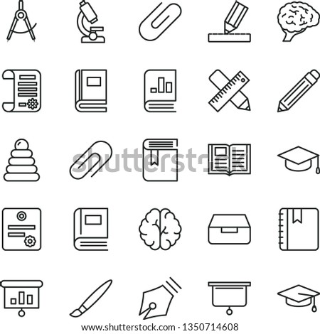 thin line vector icon set - tassel vector, clip, graphite pencil, book, stacking rings, writing accessories, drawing, notebook, drawer, square academic hat, scribed compasses, on statistics, brain #1350714608