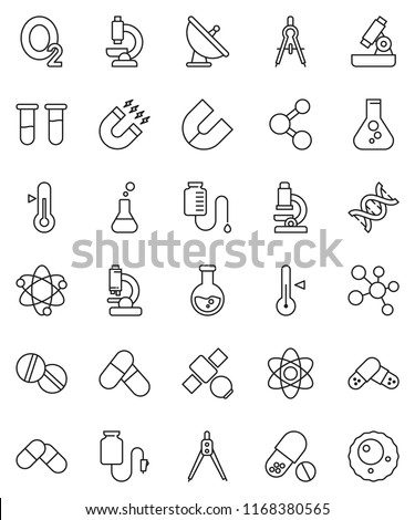 thin line vector icon set - thermometer vector, drawing compass, atom, microscope, magnet, flask, pills, molecule, oxygen, satellite, antenna, vial, dna, drop counter, ovule