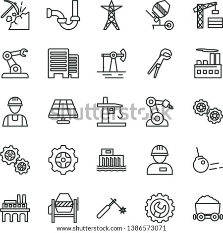 thin line vector icon set - tower crane vector, builder, workman, gears, concrete mixer, adjustable wrench, sewerage, buildings, gear, core, solar panel, working oil derrick, coal mining, power line